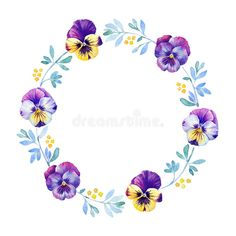 Beautiful pansy flower watercolor wreath royalty free illustration Wreath Watercolor, Watercolor Flowers, Flower Frame, Flower Art, Pansy Flower, Flower Patterns, Flower Designs, Purple Flowers Wallpaper, Floral Logo