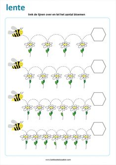 Practice tracing and counting with this spring worksheet. Trace the lines and count the number of flowers. Tracing Worksheets, Preschool Learning, Kindergarten Worksheets, In Kindergarten, Preschool Activities, Spanish Activities, Vocabulary Activities, Teaching Spanish, Bee On Flower