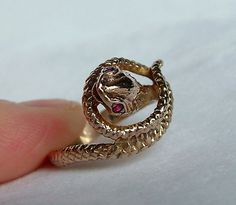 Ruby Eyed Gold Snake Ring  Gold Snake Ring  Gold by SpivandDaisy