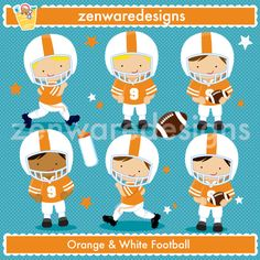 These cute little football players are ready to play! Popular  team   football graphics for   the perfect sports party, tote bags  and   monogramming!