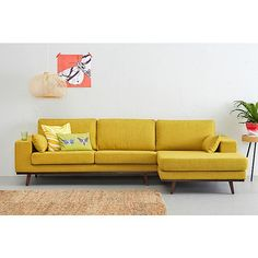 Exciting Yellow Sofas to Perfect Living Room Color Schemes Living Room Color Schemes, Living Room Designs, Yellow Couch, Mid Century Living Room, Yellow Interior, Sofa Seats, Living Room Sofa, Room Colors, Bedroom Decor