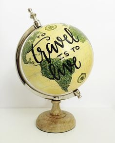 """Get ready for a mini 3-piece Insta globe sale! Prices are DISCOUNTED! This eastern style world globe is about 12"""" tall and hand lettered """"to travel is to live"""". $55 including shipping. Ships in time for Mother's Day!! 1 available comment your email to claim!"""