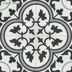 SHARED BATH FLOORING-Cement Tile Shop - Encaustic Cement Tile Floret