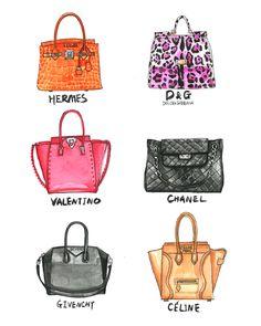 Hermes handbag fashion illustration by Rongrong DeVoe
