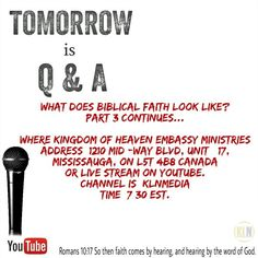 Shalom!  Join the conversation with us @klnmedia. TOMORROW is our Q and A at 7:30pm/est with Pastor Bobby Somers. We will continue discussing what biblical faith looks like. You are welcome to join us by watching through our live stream or at the Ministry. Visit our website: www.kln-media.com to view our social wall. You will see all our social media platforms, which you can follow  2 Corinthians 13:5(NKJV) Examine yourselves as to whether you are in the faith. Test yourselves. Do you not…