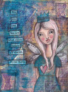 mixed media painting. Similar to Kelly Rae Roberts.