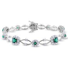 Miadora Sterling Silver Emerald and White Sapphire Flower Bracelet ($208) via Polyvore featuring jewelry, bracelets, flower bangle, sterling silver jewelry, emerald jewelry, sterling silver jewellery and white sapphire jewelry