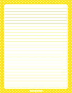 Printable yellow polka dot stationery and writing paper. Multiple versions available with or without Printable Lined Paper, Free Printable Stationery, Printable Frames, Stationery Templates, Lined Writing Paper, Stationery Paper, Diy Paper, Paper Decorations, Polka Dots