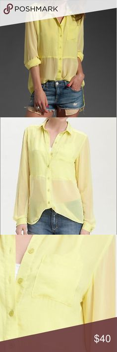 FREE PEOPLE Best of Two Worlds blouse Gorgeous FREE PEOPLE blouse in yellow. Size Large, true to size. NWOT. Never worn or washed. NO FLAWS. Polyester. Machine wash. Spread collar. Sheer long sleeves. Double button cuffs with slits. Chest patch pocket. Partly sheer front with a rounded hem. High slit at center back. High low hem. Free People Tops