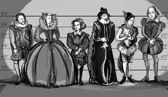 'Suspects' from left to right - Sir Henry Neville, Mary Sidney, Christopher Marlowe, Sir Francis Bacon, Edward de Vere.
