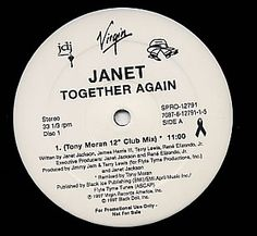 "For Sale - Janet Jackson Together Again - Double Pack USA Promo  12"" vinyl single (12 inch record / Maxi-single) - See this and 250,000 other rare & vintage vinyl records, singles, LPs & CDs at http://eil.com"