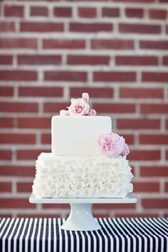 2 tier ruffled wedding cake. Ooh square!!