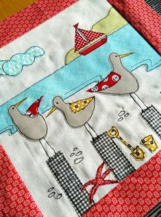 Sewing pattern PDF Seagull Applique cushion cover sew make printable templates 14 inch square pillow soft furnishings home styling stitching