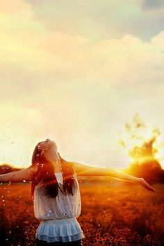 The Sun - the Spender of all Life. Girl with arms wide open Worshiping the Lord in sunset field. Sun rays shining on her upturned face. Please also visit www.JustForYouPropheticArt.com for colorful Prophetic art you might like to pin. Thanks for looking!