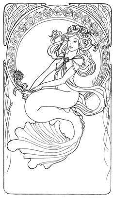 Image detail for -Mucha Mermaid Line Art by =LiquidFaeStudios on deviantART