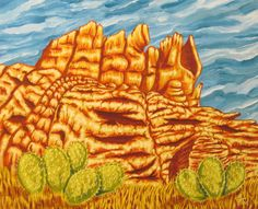 KEVIN FORD FINE ART ROCKY LANDSCAPE - ACRYLIC ON CANVAS 16 X 20  www.kfordfineart.com