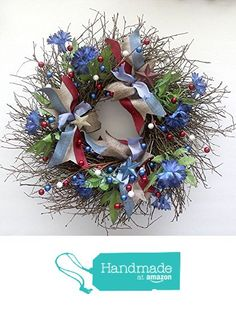 Americana wreath for front door, of july patriotic decorations, Summer Wreath, Red White blue, small 15 inch wreath Small Wreath, Spring Front Door Wreaths, Patriotic Decorations, Summer Wreath, Red White Blue, 4th Of July, Christmas Wreaths, Arts And Crafts, Bows