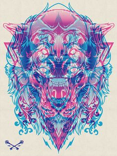 Wolf_Lion (Blue and Pink) by Hydro 74. For more info, visit 1AMGallery.com or email maya@1amsf.com.