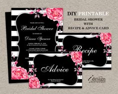 Printable Floral Black & White Stripe Bridal Shower Invitation With Recipe And Advice Card With By iDesignStationery. www.idesignstationery.com