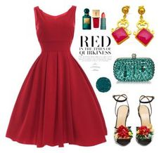"""Red Dress - Evangelos Earrings"" by evanangel ❤ liked on Polyvore featuring Charlotte Olympia, Yves Saint Laurent, Tom Ford and Illamasqua"