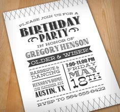LETTERPRESS Digital Birthday Party Invitation