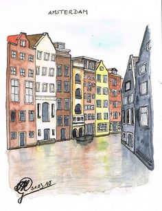 Amsterdam, watercolor, Manuel G, sketchmnni