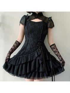 Lady Elegant Tiered Flounce Skirt Qi Lolita Dress OP by Alice Girl Lolita Dress, Alice, Short Sleeve Dresses, Elegant, Lady, Skirts, Beauty, Shopping, Steampunk