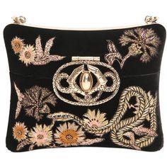 Roberto Cavalli Women Swarovski Embroidered Velvet Minaudiere ($3,835) ❤ liked on Polyvore featuring bags, handbags, clutches, black, velvet handbags, beaded clutches, embellished handbags, embroidery handbags and shoulder strap purses