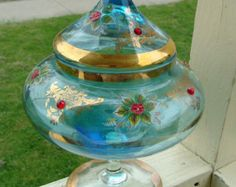 Hand Painted Enamel Flowers & Gold Red Jeweled Italian Venetian Murano Hand blown Glass Apothecary Candy Jar