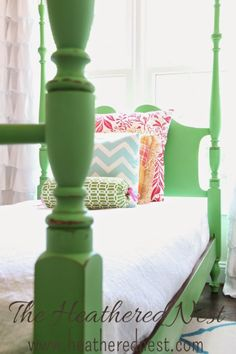 Would you believe this gorgeous four poster bed was found on the side of the road? With a little repair work and green chalk paint it looks like a million bucks!