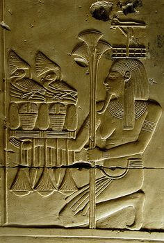 Abydos, Carving, Egypt - Hapi, Androgyne God of inundation & rivers.