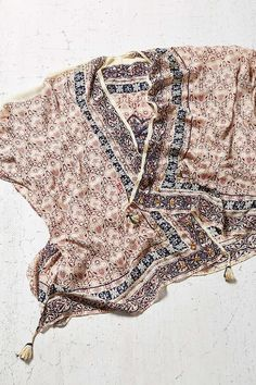 Ecote Embellished Patterned Poncho - Urban Outfitters