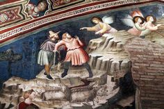 1320-25 circa,Basilica di San Nicola da Tolentino (Tolentino)The Cappellone di San Nicola is a Gothic chapel that opens to the cloister. The walls and ceiling are covered with early-14th century, Giottesque frescoes, attributed variously to the Master of Tolentino, the Master of the Magi of Fabriano, or Pietro da Rimini, depicting scenes from the Life of St Nicholas of Tolentino, Life of the Virgin, and episodes of the life of Christ.natività, annuncio e adorazione pastori.