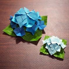 おりがみ【立体・むずかしめ】アジサイ(紫陽花)ミニチュアサイズの折り方