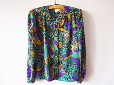 Silky Bow Tie Blouse Purple Green Exotic Leaves Print Long Sleeve Golden Button up Shirt France Fashion 80s Secretary's Size Medium to Large...