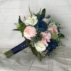 blush bridal bouquet wedding flowers - Page 52 of 101 - Wedding Flowers & Bouquet Ideas Blue And Blush Wedding, Navy Wedding Flowers, Prom Flowers, Blush Bridal, Wedding Flower Arrangements, Wedding Colors, Navy Wedding Centerpieces, Wedding Decorations, Bridal Flowers
