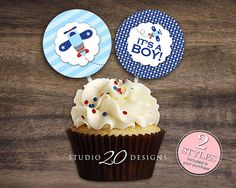 """Instant Download 2"""" Blue Airplane Cupcake Toppers, Printable Boy Baby Shower Cupcake Toppers, It's A Boy Shower Pops, Aviation Toppers #37A"""