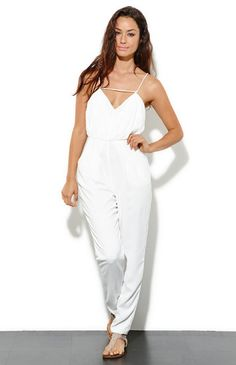 White Spaghetti Strap Backless Loose Jumpsuit pictures