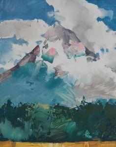 "Mt. Hood with Orchard watercolor on Yupo 14x11"" - Randall David Tipton"