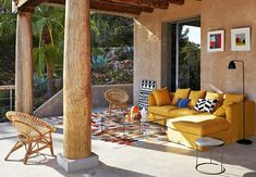Love that yellow couch! Curved Pergola, Steel Pergola, Pergola Canopy, Deck With Pergola, Pergola Patio, Pergola Kits, Pergola Ideas, Patio Ideas, Gazebo