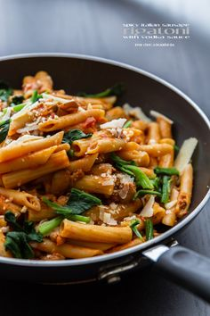 Spicy Italian Sausage Rigatoni with Vodka Sauce and Parmigiano-Reggiano cheese