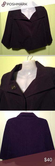 """MIXIT -  Navy Blue Crop 3/4 Sleeve Jacket Mixit Jacket  Size: 6  Description: Collar. Button closure with extra large snap buttons. 3/4 sleeve. Crop cut. Lined. Shell: 63% polyester/33% rayon/4% spandex. Lining:100% polyester  Condition: Excellent used condition.   Dimensions: 9"""" from armpit to bottom hem. 18"""" from armpit to armpit. 10"""" from armpit to sleeve hem.   Inventory Reference: #T352 MixIt Jackets & Coats Blazers"""