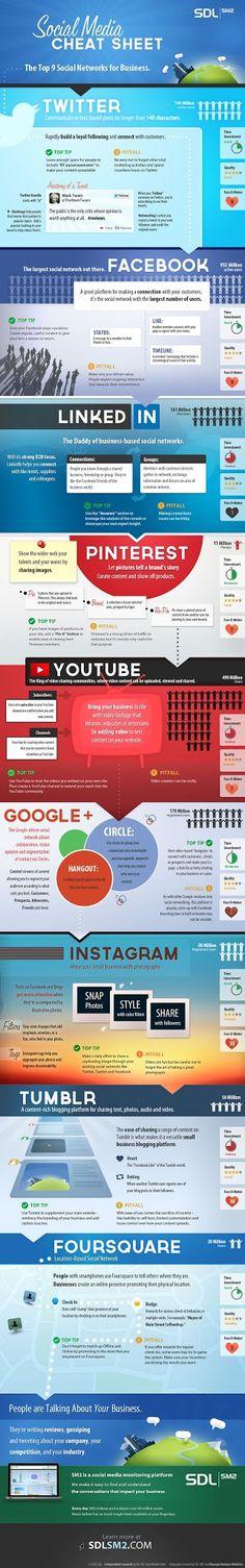 Infografía en inglés que muestra las  9 redes sociales más importantes para tu negocio y cómo aprovecharlas