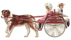 D38 - EXTRA LARGE VICTORIAN SCRAP - GIRL AND BOY IN DOG CARRIAGE - DIECUT OBLATE