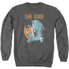 ELVIS/MIC IN HAND - ADULT CREWNECK SWEATSHIRT - CHARCOAL -