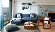 Colby Sofa from Habitat Home Design Living Room, Small Living Rooms, Living Room Sofa, Corner Sofa Living Room Small Spaces, Small Corner Couch, Small Apartment Interior, Apartment Sofa, Kitchen Seating Area, Dining Area