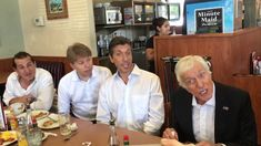 Dick Van Dyke and the Vantastix surprise a crowd at Denny's in Santa Mon...