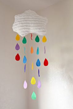 DIY Rain Cloud Mobile by whimsy-girl: Love the chenille cloud!  #Rain_Cloud_Mobile #whimsy_gor;