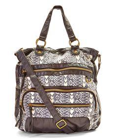 Black & White Tribal Zip Crossbody Bag