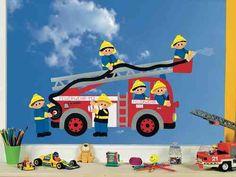 Fensterbild Bastelvorlage Feuerwehr
